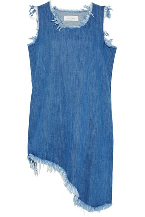 MARQUES' ALMEIDA Asymmetric frayed denim mini dress