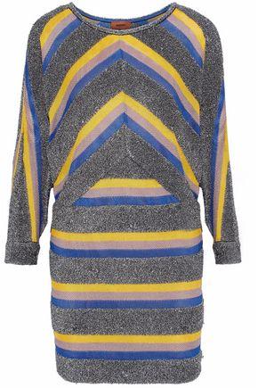 MISSONI Metallic striped crochet-knit mini dress