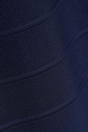 HERVÉ LÉGER Off-the-shoulder crochet-trimmed bandage dress