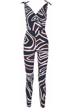 EMILIO PUCCI Wrap-effect printed stretch-crepe jumpsuit