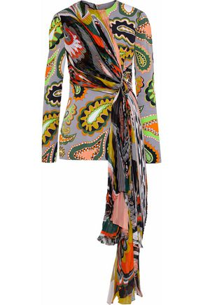 EMILIO PUCCI Pleated chiffon-paneled printed silk-blend crepe top