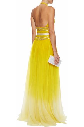 NAEEM KHAN Embellished cotton-tulle halterneck gown