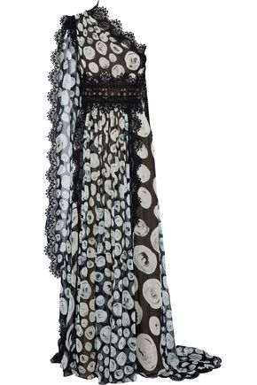 NAEEM KHAN One-shoulder cape-effect printed silk-chiffon gown