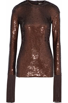 EMILIO PUCCI Fringe-trimmed sequined mesh top
