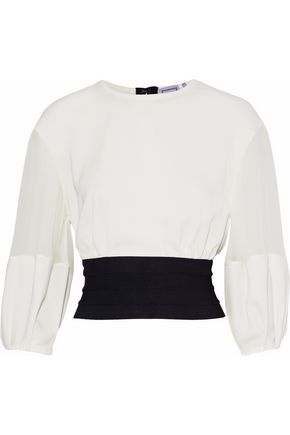 HERVÉ LÉGER Silk-georgette and bandage-paneled crepe de chine blouse