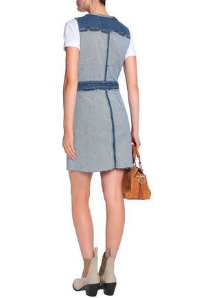 7 FOR ALL MANKIND Two-tone paneled stretch-denim mini dress