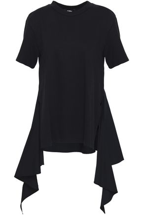 GOEN.J Draped poplin-paneled modal and cotton-blend top