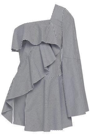 GOEN.J One-shoulder ruffled striped cotton-poplin top