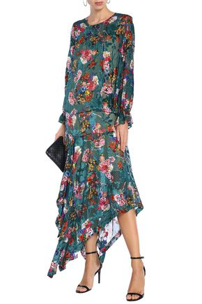 PREEN by THORNTON BREGAZZI Floral-print devoré-velvet midi dress