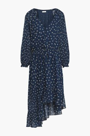 JOIE Alithea asymmetric floral-print silk crepe de chine dress