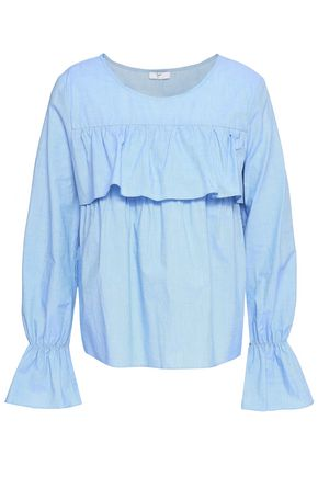 JOIE Ruffled cotton-chambray blouse