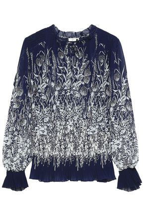 JOIE Smocked printed crepe blouse