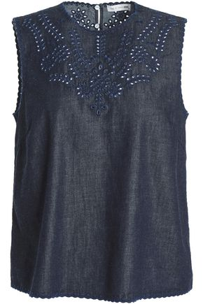 RAG & BONE Sahara embroidered cotton and silk-blend denim top