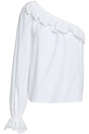 JOIE One-shoulder broderie anglaise-trimmed cotton top