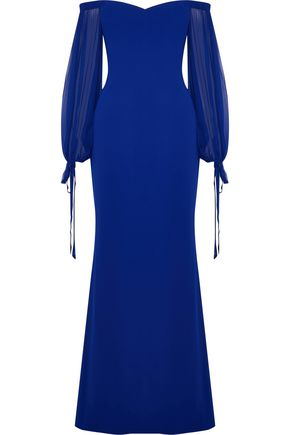BADGLEY MISCHKA Off-the-shoulder chiffon-paneled crepe gown