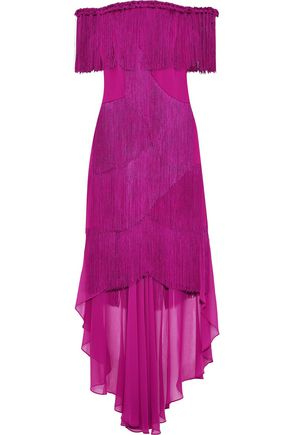 BADGLEY MISCHKA Off-the-shoulder fringed crepe and chiffon gown