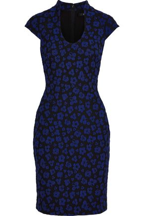 BADGLEY MISCHKA Crinkled floral-jacquard dress