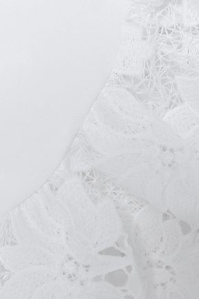 RACHEL ZOE Lace-trimmed crepe top