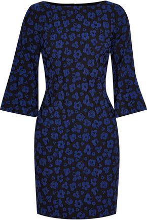 BADGLEY MISCHKA Crinkled floral-jacquard mini dress