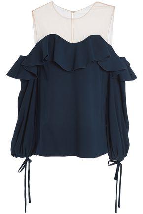 OSCAR DE LA RENTA Cold-shoulder mesh-paneled silk-blend ponte top