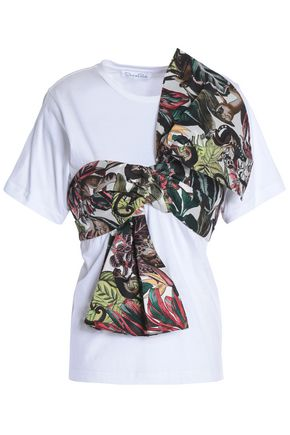 OSCAR DE LA RENTA Knotted jacquard-paneled cotton-jersey T-shirt