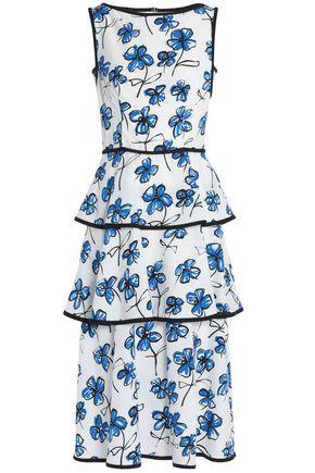OSCAR DE LA RENTA Tiered floral-print silk-blend maxi dress
