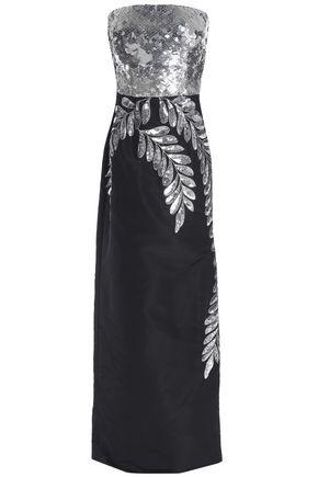 OSCAR DE LA RENTA Strapless embellished silk-faille gown