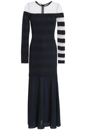 OSCAR DE LA RENTA Mesh-paneled striped stretch-knit midi dress