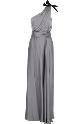 MAX MARA Acanto one-shoulder bow-embellished silk-satin gown