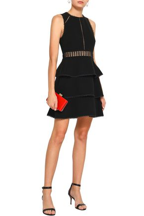RACHEL ZOE Tiered lace and cotton-crepe mini dress
