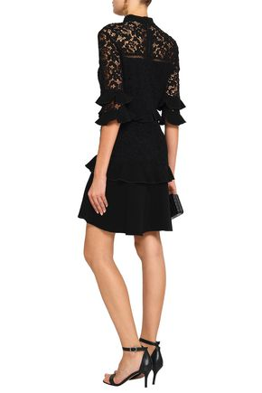 RACHEL ZOE Tiered lace and cotton-crepe mini dress