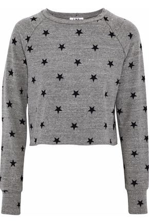 LNA Brushed Roos cropped printed stretch-jersey sweatshirt
