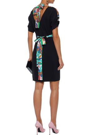 EMILIO PUCCI Printed silk twill-trimmed crepe dress