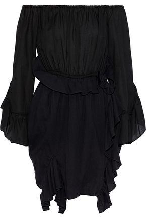 GOEN.J Off-the-shoulder ruffled cotton-gauze mini wrap dress