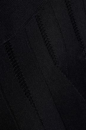 HERVÉ LÉGER Off-the-shoulder pointelle-trimmed bandage dress