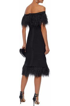 HERVÉ LÉGER Off-the-shoulder feather-trimmed bandage dress