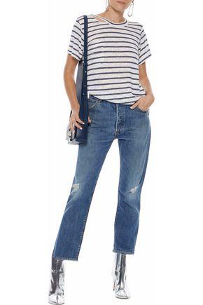 LNA Iles cutout striped slub jersey T-shirt