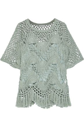 CHLOÉ Tasseled crocheted cotton and silk-blend top