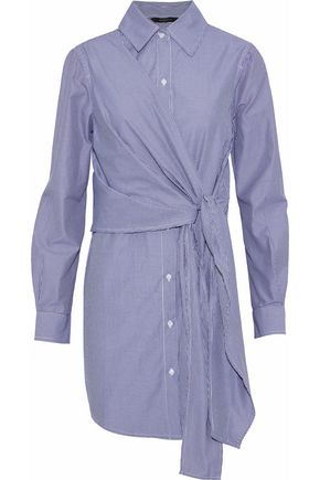 Saul Tie-Front Striped Cotton-Blend Poplin Mini Shirt Dress in Blue