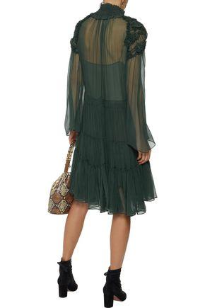 CHLOÉ Gathered ruffle-trimmed silk-georgette dress