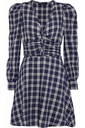 W118 by WALTER BAKER Nikol metallic checked cotton-blend twill mini dress