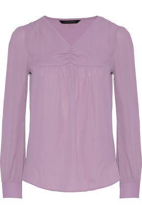 W118 by WALTER BAKER Temela gathered crepe de chine blouse