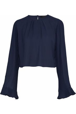 W118 by WALTER BAKER Valina pleated crepe de chine blouse