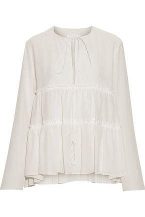 CHLOÉ Tasseled gathered silk crepe de chine blouse