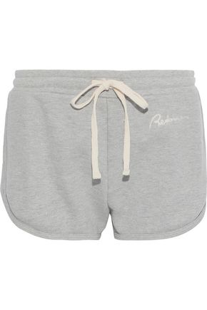 RE/DONE Embroidered French cotton-terry shorts