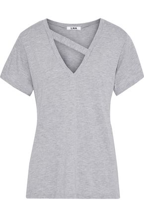 LNA Simi cutout cotton and modal-blend jersey T-shirt
