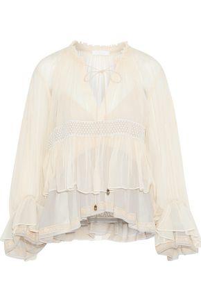 13b26da11 CHLOÉ Lace-trimmed layered silk-georgette blouse