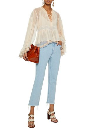 CHLOÉ Lace-trimmed layered silk-georgette blouse