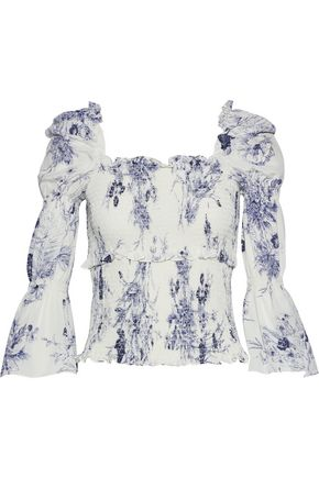 CINQ À SEPT Adelaide shirred floral-print silk blouse