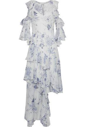 CINQ À SEPT Ceria asymmetric ruffled floral-print silk-georgette gown